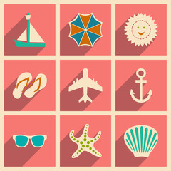 Flat with shadow concept and mobile application travel icons