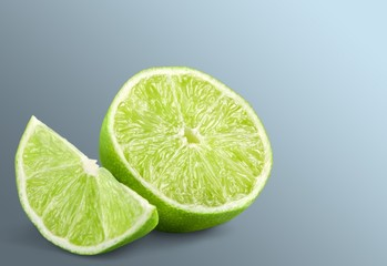 Lemon. Collection Fresh lime and slice, Isolated on white