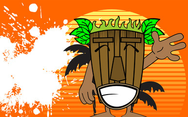 tiki hawaiian mask cartoon summer background0