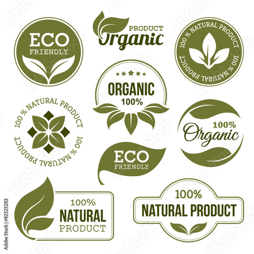 Green Organic Products Labels - 82325283