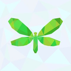 Abstract Green Dragonfly