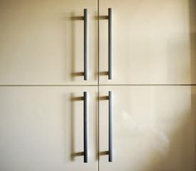 Kitchen cabinet, steel handles