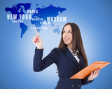 business woman pointing destinations on the map