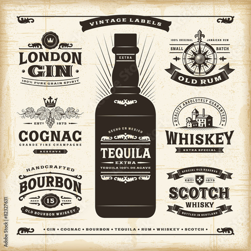 Vintage alcohol labels collection - 82327631