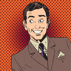 happy man smiling businessman entertainer artist pop art comics