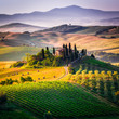 Tuscany, landscape and farmhouse in the hills of Val d'Orcia - 82328495