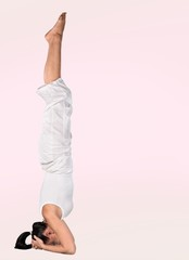 Yoga. Practicing Yoga with Clipping Path