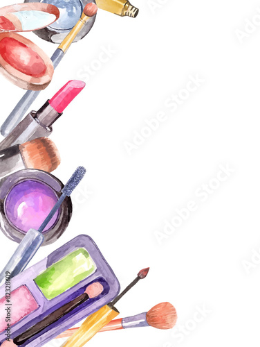 Watercolor cosmetics set