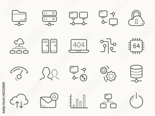Network Hosting and Servers Line Icons. - 82328809