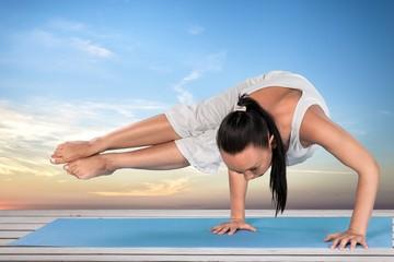 Yoga. Practicing Yoga w/Clipping Path