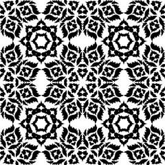 Black Damask pattern on a white background.