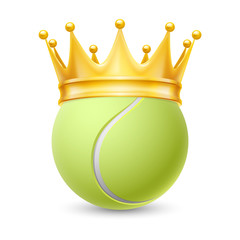 Golden crown on  ball for tennis