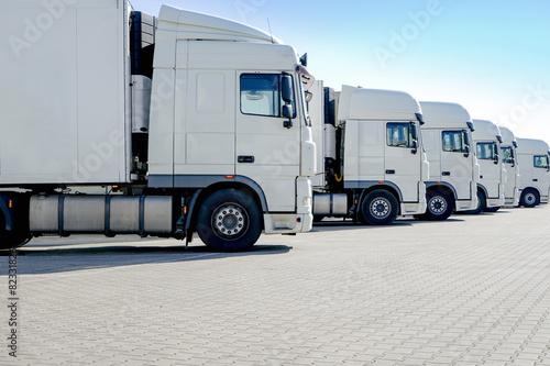 Leinwandbild Motiv LKW-Spedition, mehrere weiße Laster stehen nebeneinander