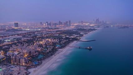 Dubai Marina Skyline night to day from Burj Al Arab. United Arab
