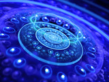 Blue glowing dimensional gate in space