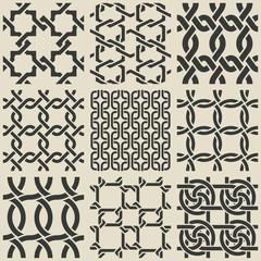 Set of monochrome geometric seamless patterns