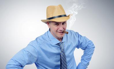 Cow boy businessman in tie portrait
