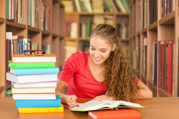 College Student. Library Study
