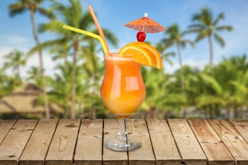 Cocktail. Tropical cocktail