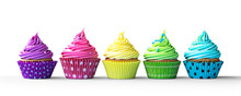 "Постер, картина, фотообои ""Colorful cupcakes on white"""