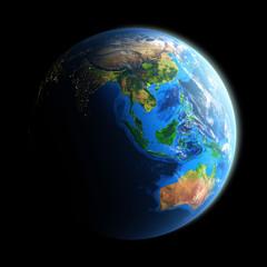 Illuminated face of Earth isolated on black