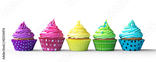 Colorful cupcakes on white - 82336476