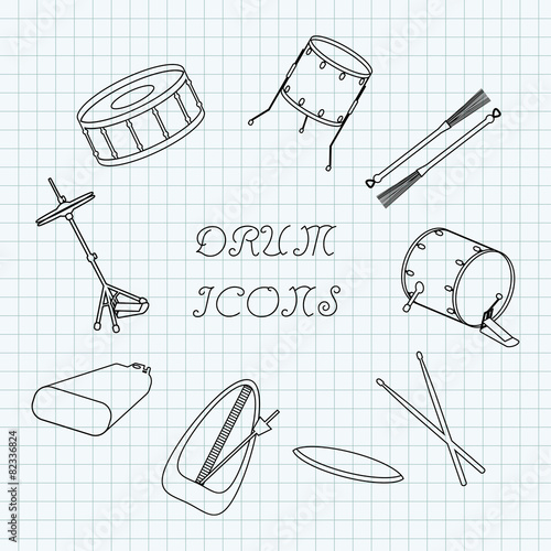 Linear drum icons on the notebook sheet in a cage. Doodle - 82336824