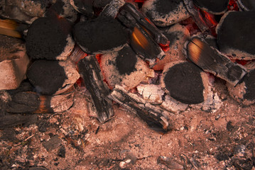 Briquettes With Burning Fire In A Detail