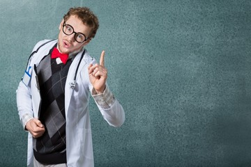 Doctor. Funny doctor in glasses with notebook