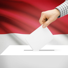 Ballot box with national flag on background - Indonesia