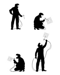 Four welders silhouettes