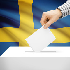 Ballot box with national flag on background - Sweden