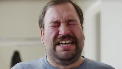 Close up shot of bearded man talking and crying / Orem, Utah, United States,
