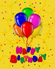 Happy birthday greeting card, poster with letters and balloons.