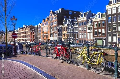 Plakát, Obraz Půvabné Amsterdam. kanály a kola