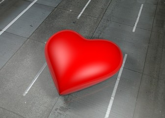 Red heart on street