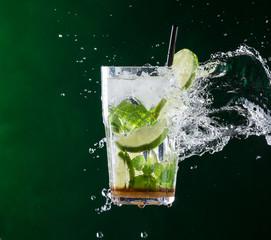fresh mojito drink with liquid splash