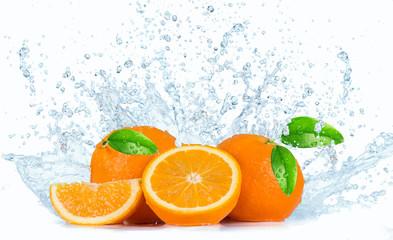 Oranges with Water splashes