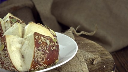 Pretzel Rolls with seeds (not seamless loopable 4K UHD footage)