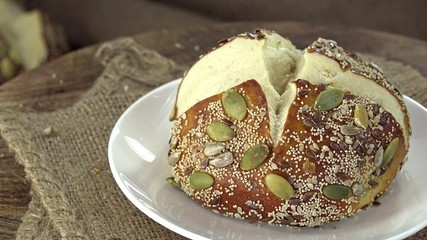 Some Pretzel Rolls with seeds (not seamless loopable)