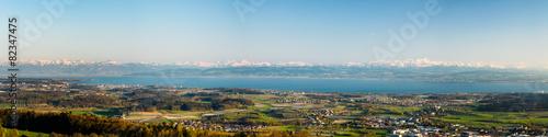 Foto op Aluminium Meer Panorama Bodensee mit Alpen im Hintergrund