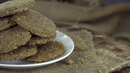Portion of rotating Oat Cookies (seamless loopable 4K footage)