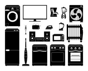 Set of black scaled home appliances