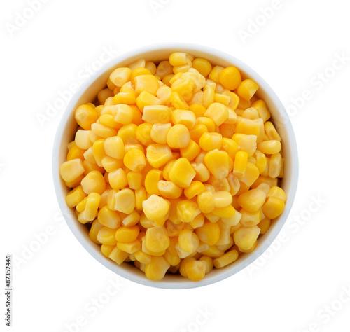 Aluminium Granen corn in a bowl on a white background