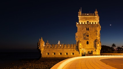 4K night timelapse of the Belem Tower in Lisbon - Portugal - UHD