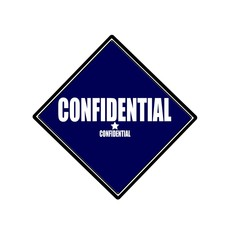 Confidential white stamp text on blue black background