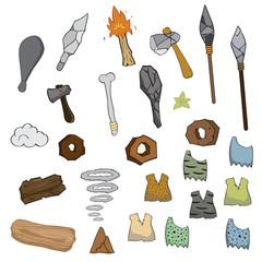Weapon of stone age cartoon,vector illustration
