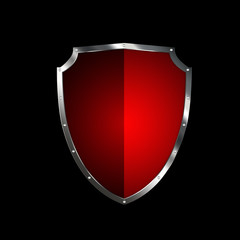 Red shield with silver riveted border.