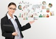 Market. Business woman with colorful graphs and charts concepts
