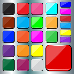 Set of blank colorful square buttons.